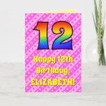 [ Thumbnail: 12th Birthday: Pink Stripes & Hearts, Rainbow # 12 Card ]