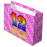 [ Thumbnail: 12th Birthday: Pink Stripes & Hearts, Rainbow # 12 Gift Bag ]