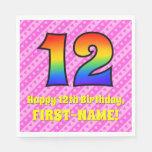 [ Thumbnail: 12th Birthday: Pink Stripes & Hearts, Rainbow # 12 Napkins ]