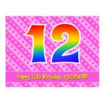 [ Thumbnail: 12th Birthday: Pink Stripes & Hearts, Rainbow 12 Postcard ]