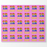 [ Thumbnail: 12th Birthday: Pink Stripes & Hearts, Rainbow # 12 Wrapping Paper ]