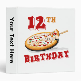 12th Birthday Pizza Party 3 Ring Binder