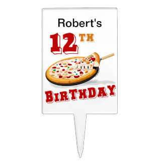 12th Birthday Pizza Party Cake Toppers