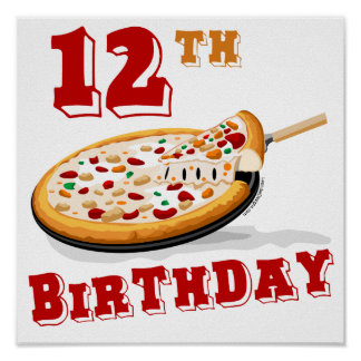 12th Birthday Pizza Party Posters