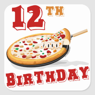 12th Birthday Pizza Party Square Stickers