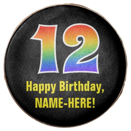12th Birthday _ Rainbow Spectrum Pattern Number 12 Chocolate Covered Oreo