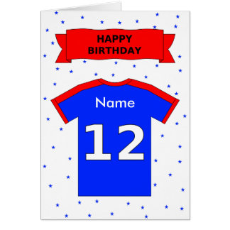 12th birthday red blue t-shirt add a name greeting cards