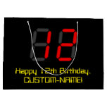 "[ Thumbnail: 12th Birthday: Red Digital Clock Style ""12"" + Name Gift Bag ]"