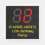 "[ Thumbnail: 12th Birthday: Red Digital Clock Style ""12"" + Name Napkins ]"