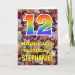 "[ Thumbnail: 12th Birthday; Rustic Autumn Leaves; Rainbow ""12"" Card ]"