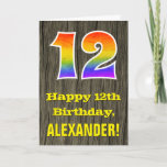 "[ Thumbnail: 12th Birthday: Rustic Faux Wood Look, Rainbow ""12"" Card ]"