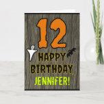 [ Thumbnail: 12th Birthday: Spooky Halloween Theme, Custom Name Card ]