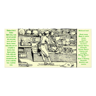 """12th century  Medieval Kitchen and Cook-Rack Card"