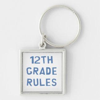 12th Grade Rules Silver-Colored Square Keychain