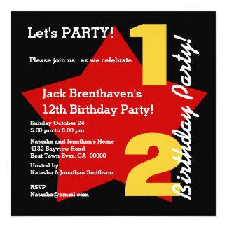 12th TWEEN'S Birthday Modern BLACK RED Star T02C Card