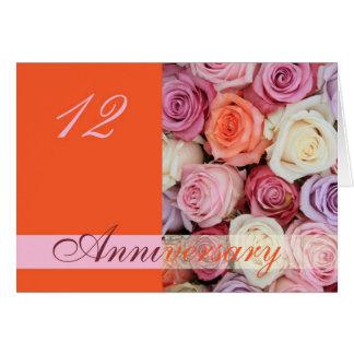 12th Wedding Anniversary Card Pastel Roses