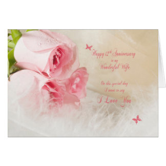 12th Wedding Anniversary For Wife With Roses Card