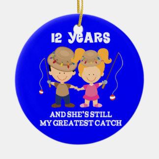 12th Wedding Anniversary Funny Gift For Him Ceramic Ornament