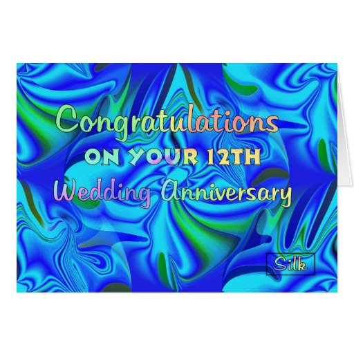 Wedding Gifts For 12th Anniversary : 12th Wedding Anniversary Greeting Card Zazzle