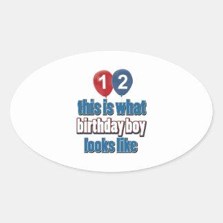 12th year birthday designs oval sticker