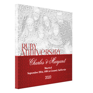 12x12 Ruby 60th Anniversary Photo Canvas