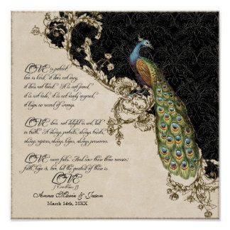 12x12 Vintage Peacock 1 - Wedding Personalized Poster