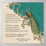 12x12 Vintage Peacock 1 - Wedding Personalized Print