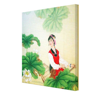 """12x12"""" Wrapped Canvas (Gloss) with Chinese Motif Canvas Print"""