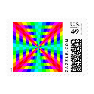 13090 OPTICAL ILLUSIONS COLORFUL SHAPES GROOVY DIG POSTAGE STAMP