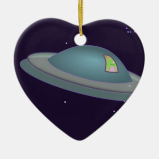 1309500319 CUTE CARTOON ALIEN SPACESHIP TIME TRAVE Double-Sided HEART CERAMIC CHRISTMAS ORNAMENT