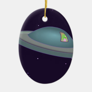 1309500319 CUTE CARTOON ALIEN SPACESHIP TIME TRAVE Double-Sided OVAL CERAMIC CHRISTMAS ORNAMENT
