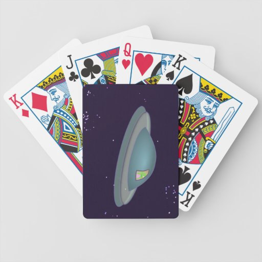 1309500319 CUTE CARTOON ALIEN SPACESHIP TIME TRAVE BICYCLE PLAYING CARDS