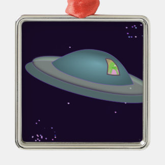 1309500319 CUTE CARTOON ALIEN SPACESHIP TIME TRAVE SQUARE METAL CHRISTMAS ORNAMENT