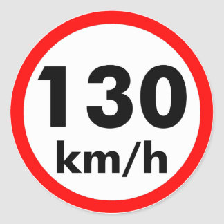 130 kilómetros por hora pegatina redonda