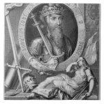 1312-77) reyes de Edward III (de Inglaterra a part Azulejo Cuadrado Grande