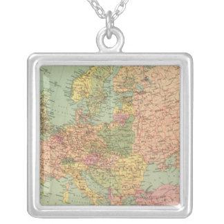 1314 Political Europe Square Pendant Necklace