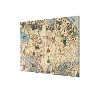 131-0058260/1 atlas catalán: Detalle de Asia, por  Lienzo Envuelto Para Galerias