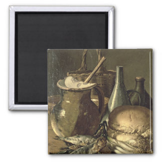 131-0058519/1 Still Life with Fish, Leeks and Brea 2 Inch Square Magnet