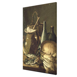 131-0058519/1 Still Life with Fish, Leeks and Brea Canvas Print