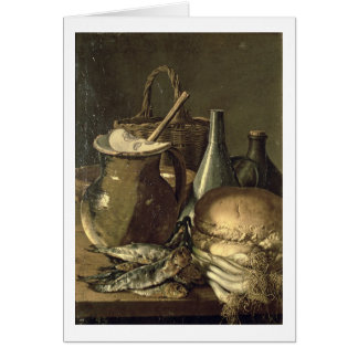 131-0058519/1 Still Life with Fish, Leeks and Brea Card