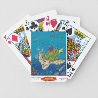 #131 8x10  Hitching a ride on a sea turtle Bicycle Playing Cards