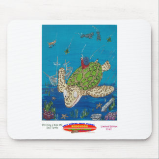 #131 8x10  Hitching a ride on a sea turtle Mousepad