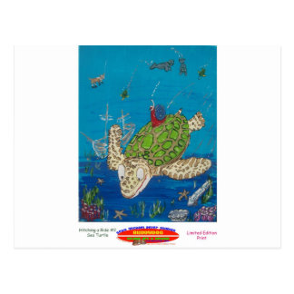 #131 8x10  Hitching a ride on a sea turtle Postcard