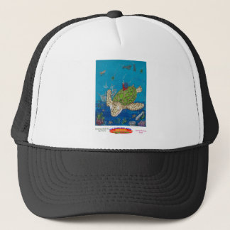 #131 8x10  Hitching a ride on a sea turtle Trucker Hat