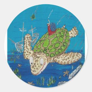 #131 8x10 que engancha un paseo en una tortuga de pegatina redonda