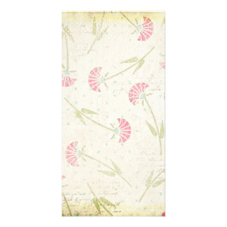 1328_floral20-grunge FADED RED GREEN FLOWERS PATTE Card