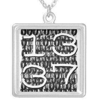 1337 binary background square pendant necklace