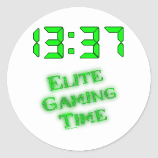 1337 Gaming Time Classic Round Sticker