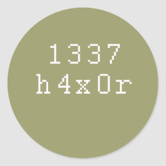 1337 h4ck3r pegatina redonda