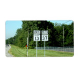 1337 INDIANA HIGHWAY SIGNS PERSONALIZED SHIPPING LABEL